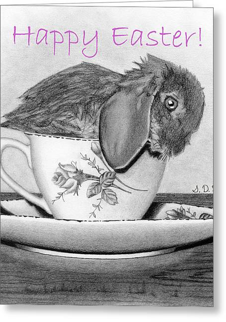 Hand Drawn Greeting Cards - Happy Easter- Bunny In A Teacup Greeting Card by Sarah Batalka