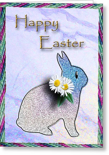 Wildlife Celebration Mixed Media Greeting Cards - Happy Easter Bunny Rabbit Greeting Card by Jeanette K