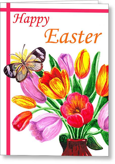 Easter Flowers Greeting Cards - Happy Easter Butterfly Greeting Card by Irina Sztukowski