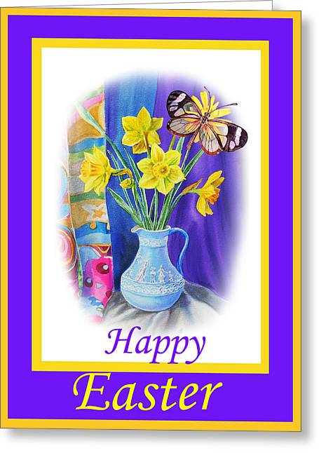 Daffodils Greeting Cards - Happy Easter Daffodils Greeting Card by Irina Sztukowski