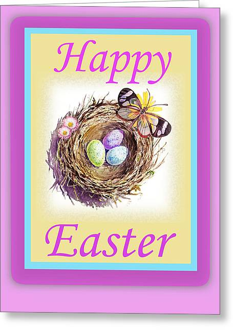 Easter Card Greeting Cards - Happy Easter Happy Nest Greeting Card by Irina Sztukowski