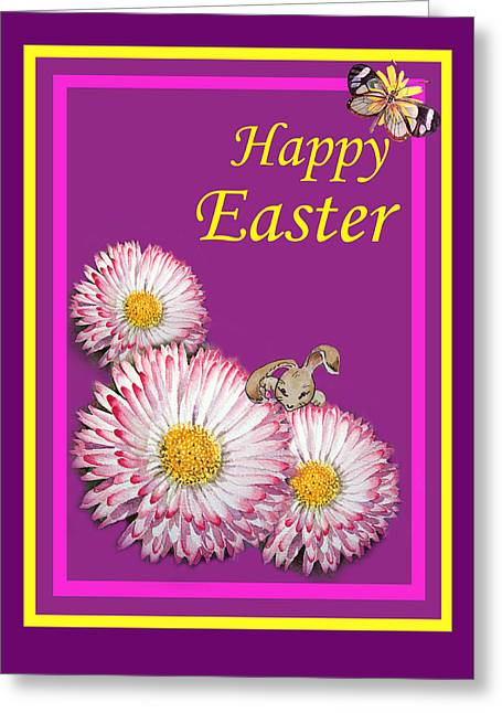 Easter Flowers Greeting Cards - Happy Easter Hiding Bunny Greeting Card by Irina Sztukowski