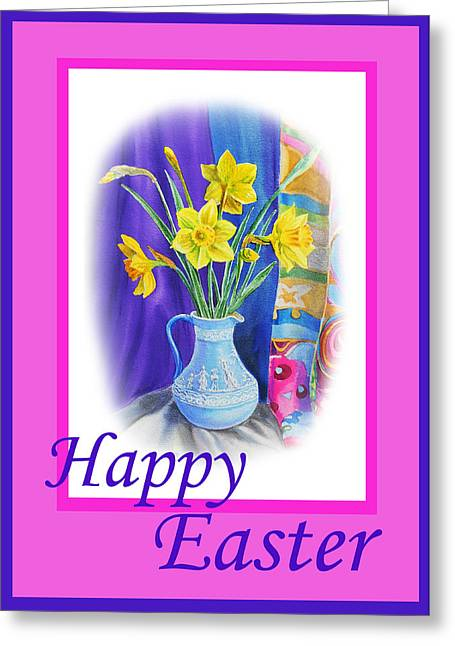 Easter Flowers Greeting Cards - Happy Easter Greeting Card by Irina Sztukowski