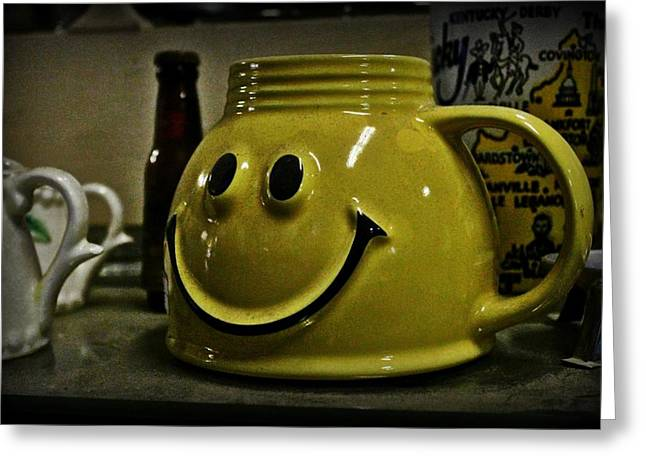 Pottery Pitcher Digital Greeting Cards - Happy Face Greeting Card by Elizabeth Sullivan