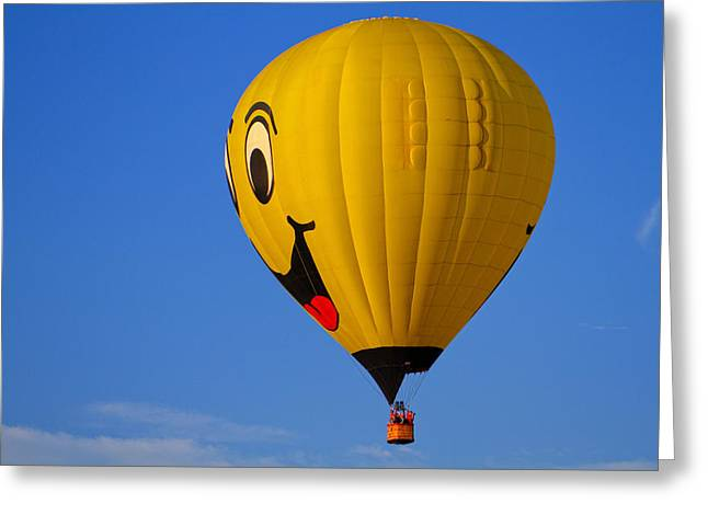 Helium Greeting Cards - Happy Face Hot Air Balloon Greeting Card by Geraldine Scull