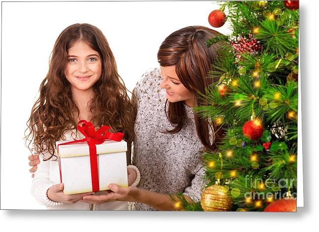 Happy Family Celebrate Christmas Greeting Card by Anna Om