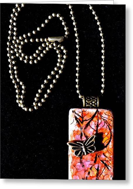 Family Jewelry Greeting Cards - Happy Family Domino Pendant Greeting Card by Beverley Harper Tinsley