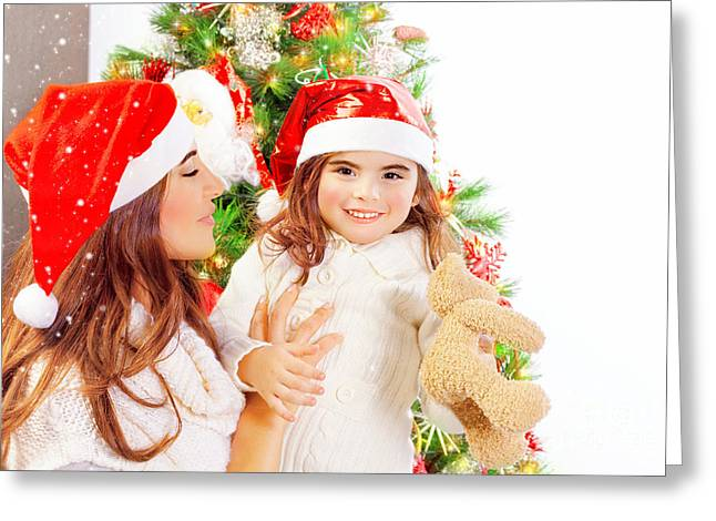 Daughter Gift Greeting Cards - Happy family near Christmas tree Greeting Card by Anna Omelchenko