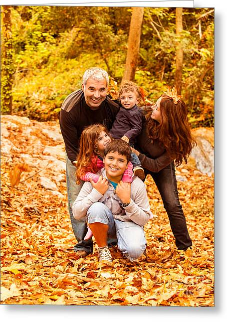 Seasons.dad Greeting Cards - Happy family outdoors Greeting Card by Anna Omelchenko