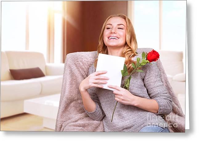 Rose Pleasure Greeting Cards - Happy female enjoying greeting card Greeting Card by Anna Omelchenko