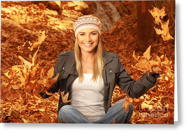 Throw Down Greeting Cards - Happy female in autumn woods Greeting Card by Anna Omelchenko