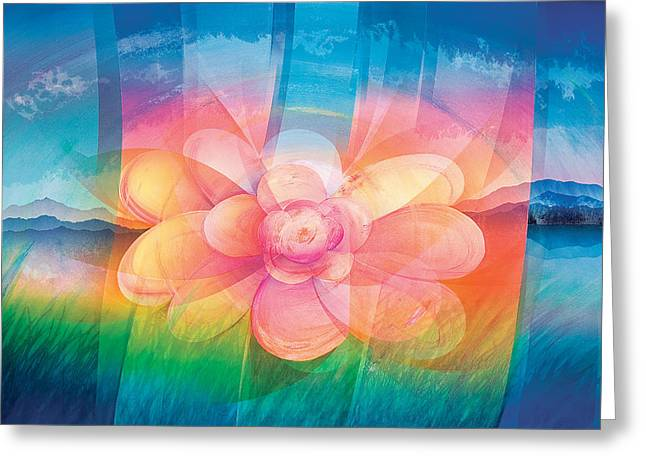 Block Printing Greeting Cards - Happy Flower Greeting Card by Sutthipong Changaim
