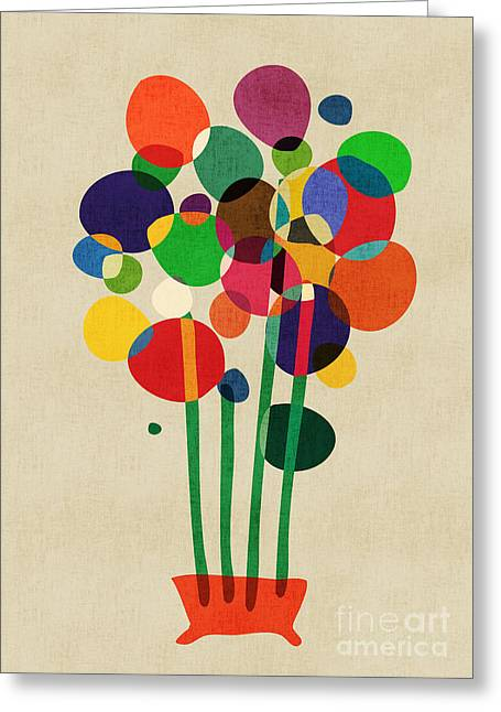 Abstract Flower Greeting Cards - Happy Flowers in The Vase Greeting Card by Budi Kwan