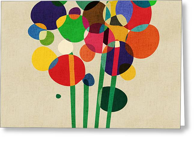 Happy Flowers in The Vase Greeting Card by Budi Satria Kwan