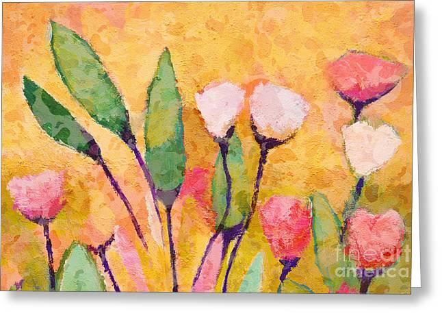 Painted Flowers Greeting Cards - Happy Flowers Greeting Card by Lutz Baar