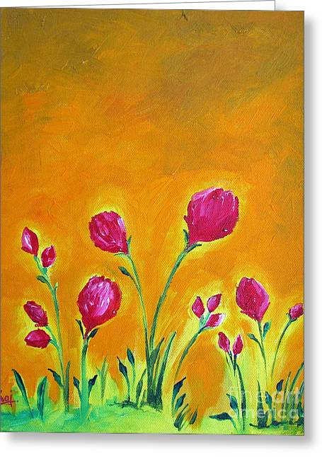 Original Paining Greeting Cards - Happy flowers acrylic painting on canvas Greeting Card by Prajakta P