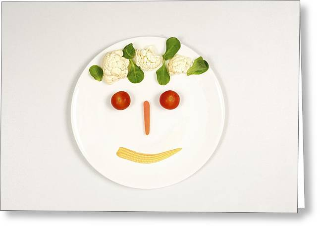 Abstract Expression Greeting Cards - Happy food face Greeting Card by Science Photo Library