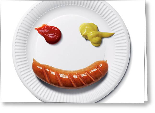 Happy Food Face Greeting Card by Smetek