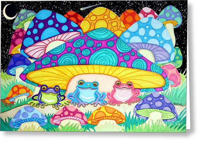 Magic Mushrooms Greeting Cards - Happy Frogs in the Starlight  Greeting Card by Nick Gustafson
