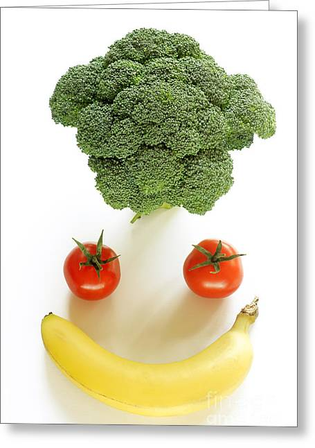 Broccoli Greeting Cards - Happy fruit and vegetable face Greeting Card by Rosemary Calvert