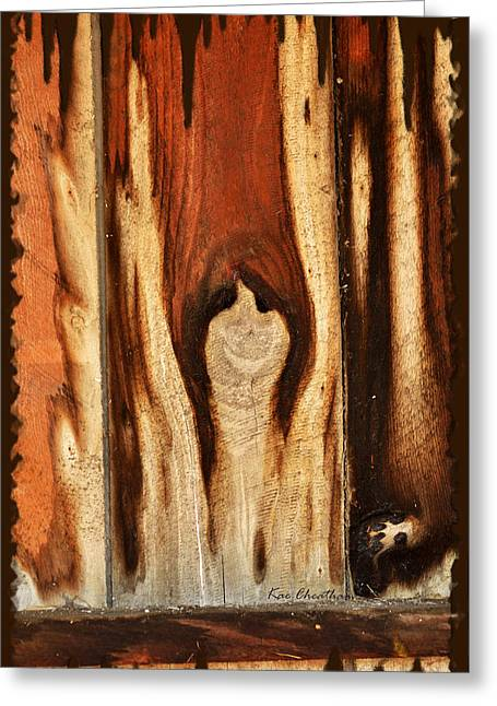 Surreal Images Greeting Cards - Happy Ghost in Wood Greeting Card by Kae Cheatham
