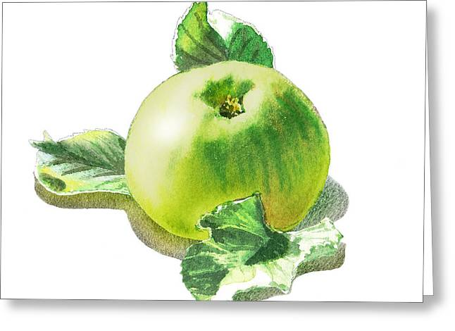 Green Apples Greeting Cards - Happy Green Apple Greeting Card by Irina Sztukowski