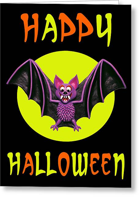 Humorous Greeting Cards Greeting Cards - Happy Halloween Bat Greeting Card by Amy Vangsgard