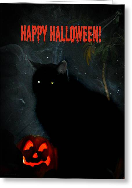 Happy Halloween Black Cat Greeting Card by Michelle Frizzell-Thompson