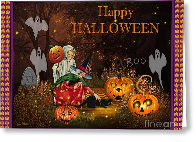 Witch Cat Greeting Cards - Happy Halloween-Boo Greeting Card by Jean Plout
