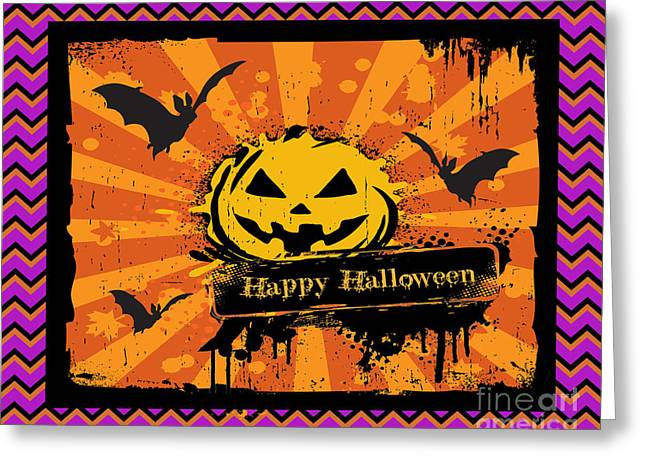 Witch Cat Greeting Cards - Happy Halloween-Chevron Pumpkin Greeting Card by Jean Plout