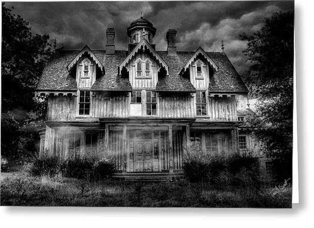 Scary Houses Greeting Cards - Haunted Greeting Card by Fran J Scott