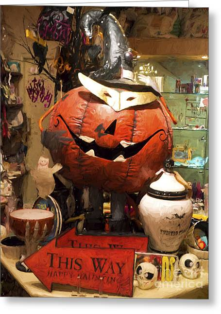 Jacko Greeting Cards - Halloween This Way Greeting Card by Gillian Singleton