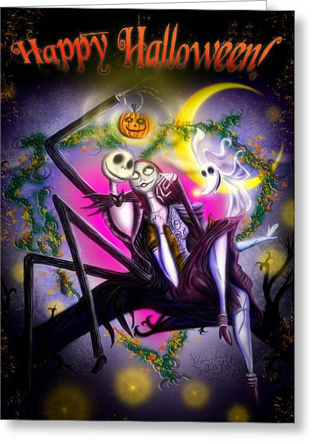 Reds Orange And Blue Greeting Cards - Happy Halloween II Greeting Card by Alessandro Della Pietra