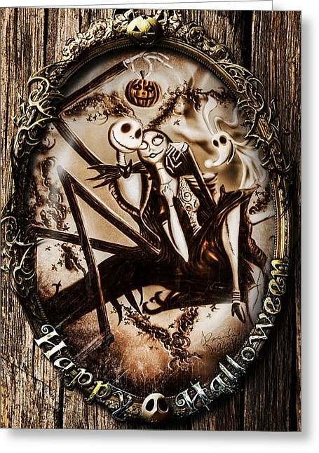 Christmas Greeting Greeting Cards - Happy Halloween III sepia version Greeting Card by Alessandro Della Pietra