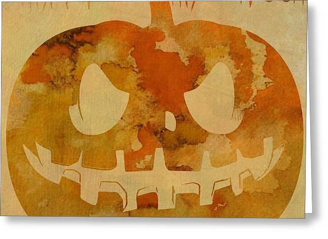 Creepy Digital Art Greeting Cards - Happy Halloween Pumpkin Greeting Card by Dan Sproul