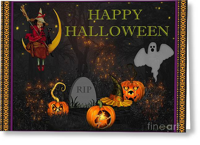 Witch Cat Greeting Cards - Happy Halloween-RIP Greeting Card by Jean Plout