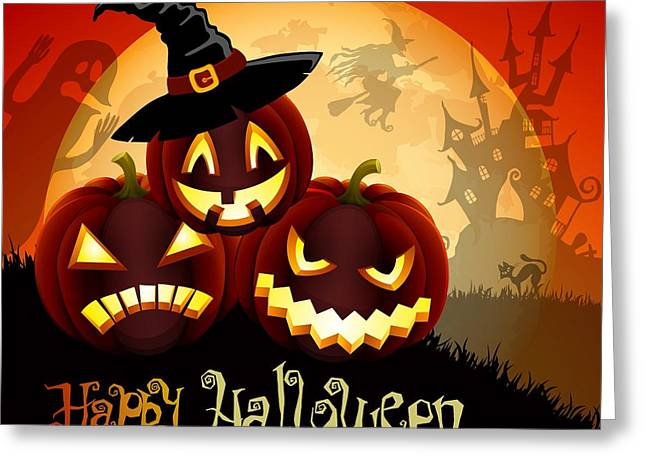 Halloween Night Greeting Cards - Happy Halloween Greeting Card by Gianfranco Weiss