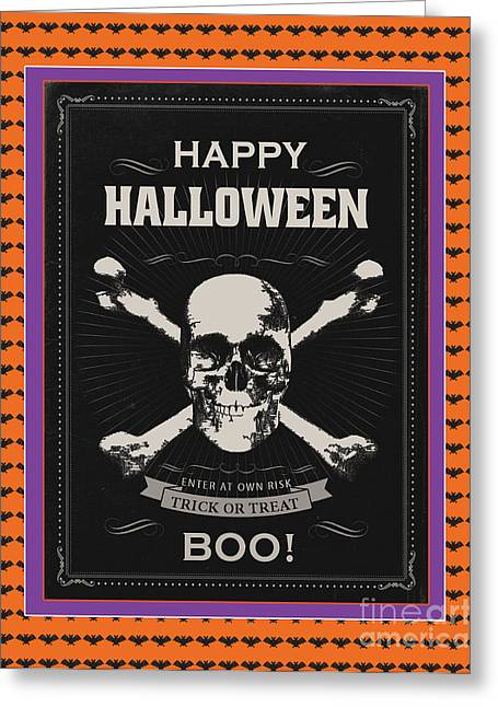 Witch Cat Greeting Cards - Happy Halloween-Sckull Greeting Card by Jean Plout
