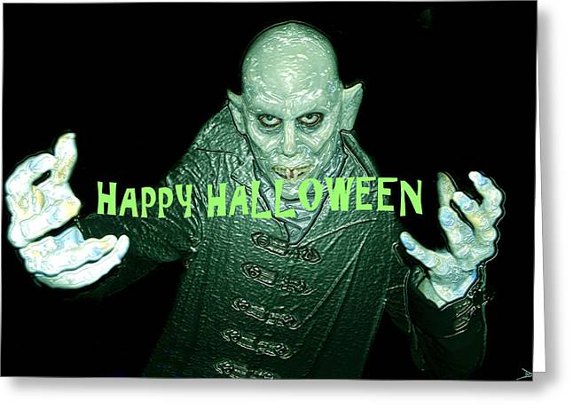 Dracula Digital Greeting Cards - Happy Halloween the Count Greeting Card by David Lee Thompson