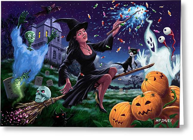 Haunted House Digital Art Greeting Cards - Happy Halloween Witch with graveyard friends Greeting Card by Martin Davey