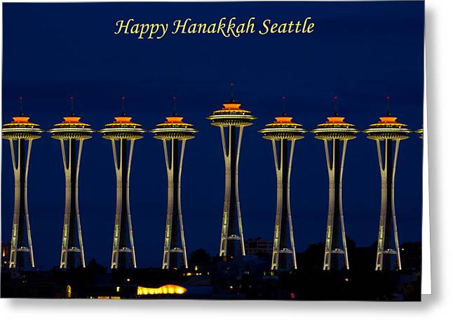 Hanukah Greeting Cards - Happy Hanakkah Seattle Greeting Card by Roger Reeves  and Terrie Heslop