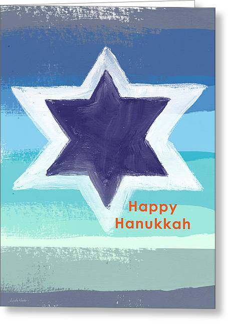 Blue And Orange Greeting Cards - Happy Hanukkah Card Greeting Card by Linda Woods