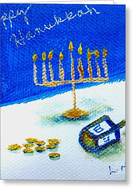 Hanuka Greeting Cards - Happy Hanukkah Greeting Card by Laurie Morgan
