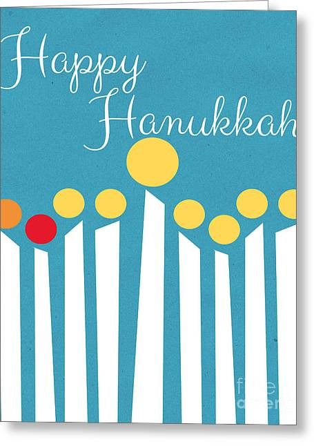 Artwork Mixed Media Greeting Cards - Happy Hanukkah Menorah Card Greeting Card by Linda Woods