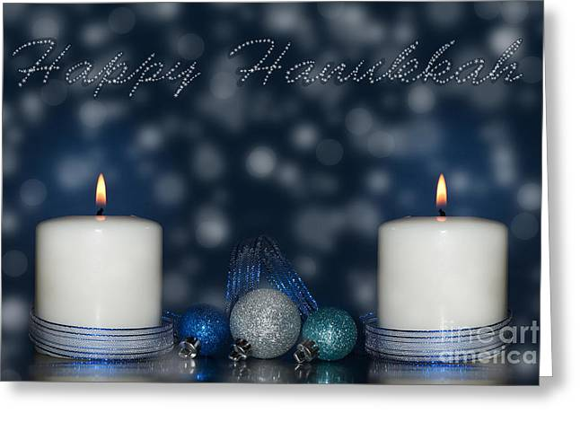 Hanuka Greeting Cards - Happy Hanukkah Greeting Card by Sari ONeal