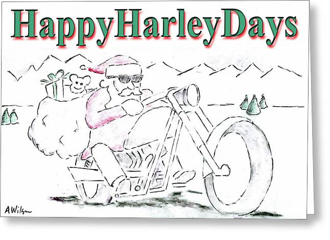 New Year Drawings Greeting Cards - Happy Harley Days Greeting Card by Andrew Wilson