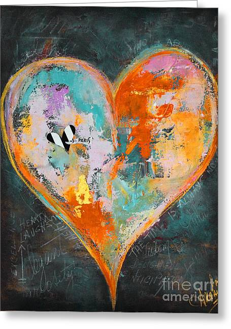 Romance Mixed Media Greeting Cards - Happy Heart Abstracted Greeting Card by Anahi DeCanio