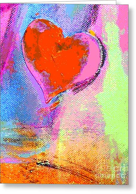 Juvenile Wall Decor Mixed Media Greeting Cards - Happy Abstract Heart Pop Art Greeting Card by ArtyZen Studios - ArtyZen Home