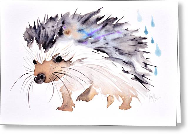 Sumi Greeting Cards - Happy hedgehog Greeting Card by Kristina Broza