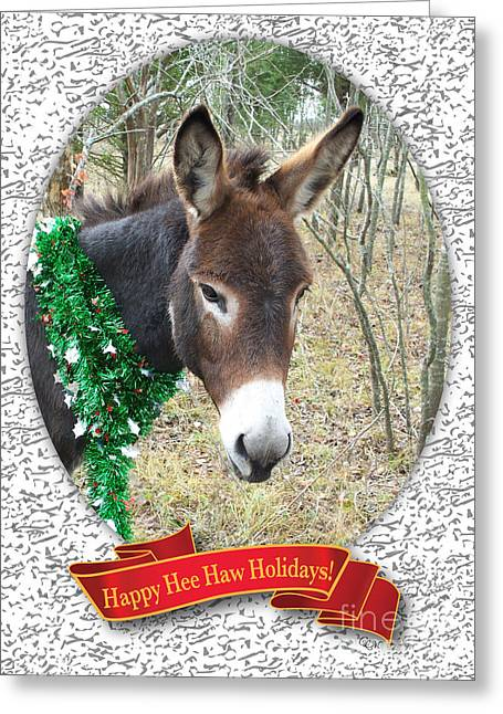 Moos Greeting Cards. Greeting Cards - Happy Hee Haw Holidays Greeting Card by Cheryl McClure